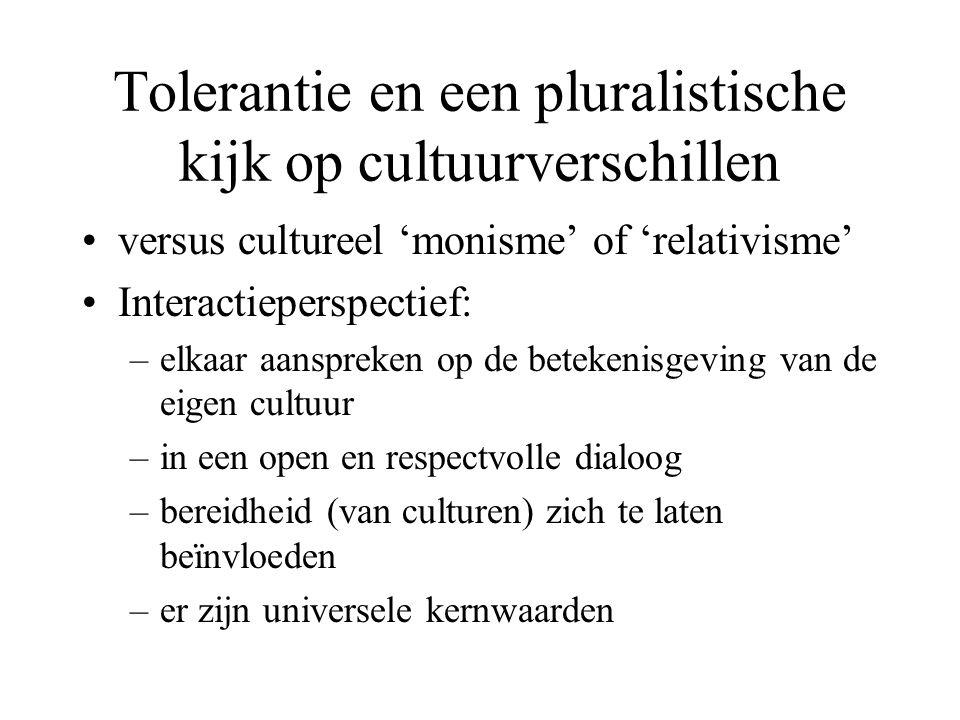 Tolerantie en een pluralistische kijk op cultuurverschillen versus cultureel 'monisme' of 'relativisme' Interactieperspectief: –elkaar aanspreken op d