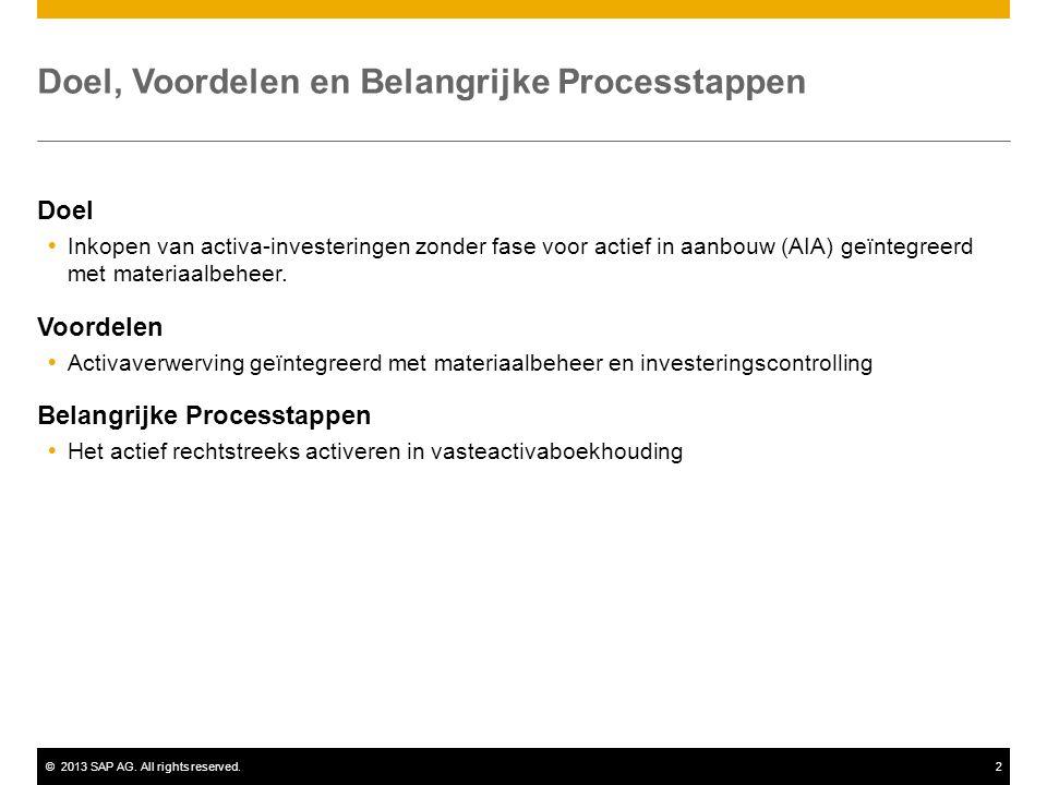 ©2013 SAP AG. All rights reserved.2 Doel, Voordelen en Belangrijke Processtappen Doel  Inkopen van activa-investeringen zonder fase voor actief in aa