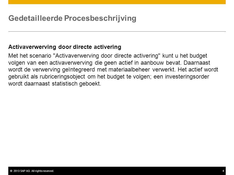 ©2013 SAP AG. All rights reserved.4 Gedetailleerde Procesbeschrijving Activaverwerving door directe activering Met het scenario
