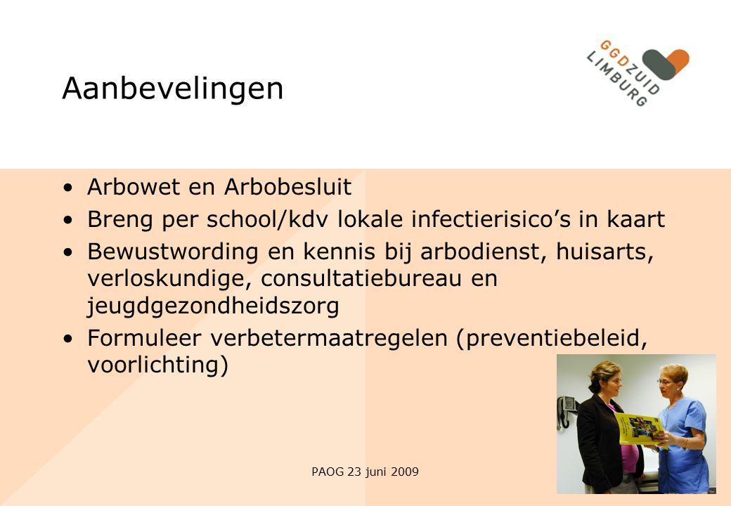 PAOG 23 juni 2009 Aanbevelingen Arbowet en Arbobesluit Breng per school/kdv lokale infectierisico's in kaart Bewustwording en kennis bij arbodienst, h
