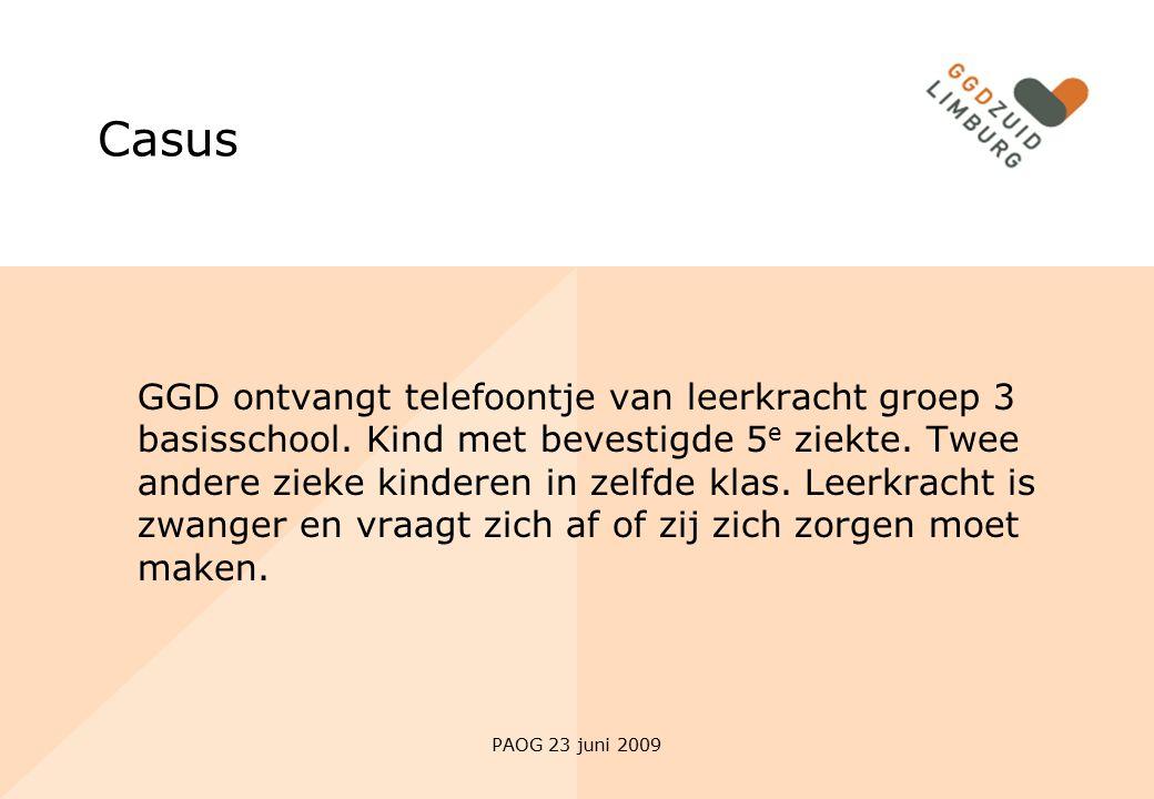 PAOG 23 juni 2009 Casus GGD ontvangt telefoontje van leerkracht groep 3 basisschool. Kind met bevestigde 5 e ziekte. Twee andere zieke kinderen in zel