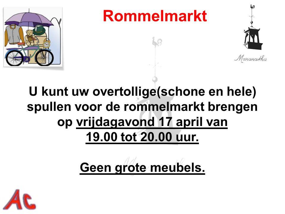 U kunt uw overtollige(schone en hele) spullen voor de rommelmarkt brengen op vrijdagavond 17 april van 19.00 tot 20.00 uur. Geen grote meubels. Rommel