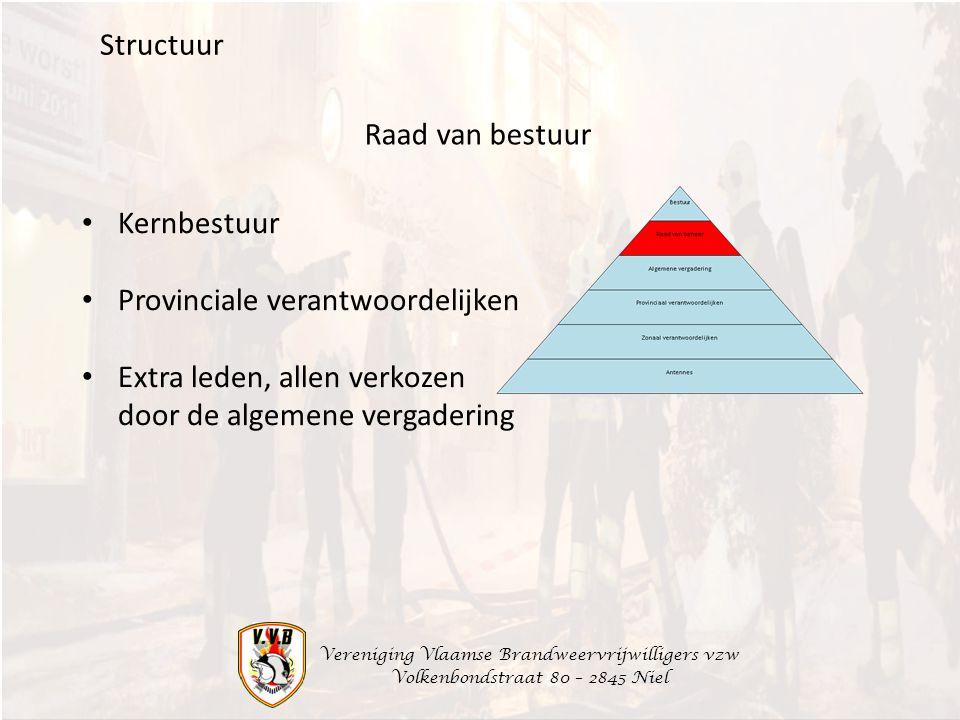 Vereniging Vlaamse Brandweervrijwilligers vzw Volkenbondstraat 80 – 2845 Niel Structuur Kernbestuur Provinciale verantwoordelijken Extra leden, allen