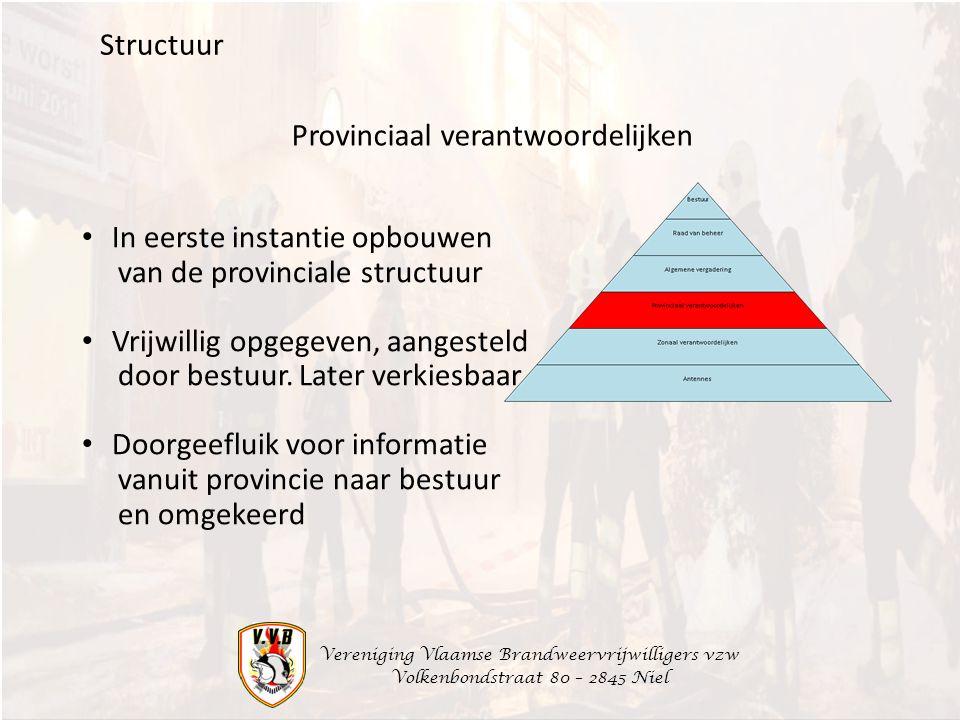 Vereniging Vlaamse Brandweervrijwilligers vzw Volkenbondstraat 80 – 2845 Niel Structuur In eerste instantie opbouwen van de provinciale structuur Vrijwillig opgegeven, aangesteld door bestuur.