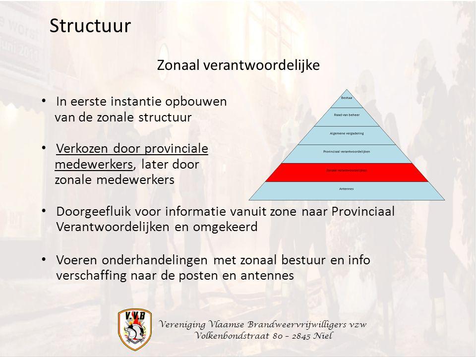 Vereniging Vlaamse Brandweervrijwilligers vzw Volkenbondstraat 80 – 2845 Niel Zonaal verantwoordelijke Structuur In eerste instantie opbouwen van de z