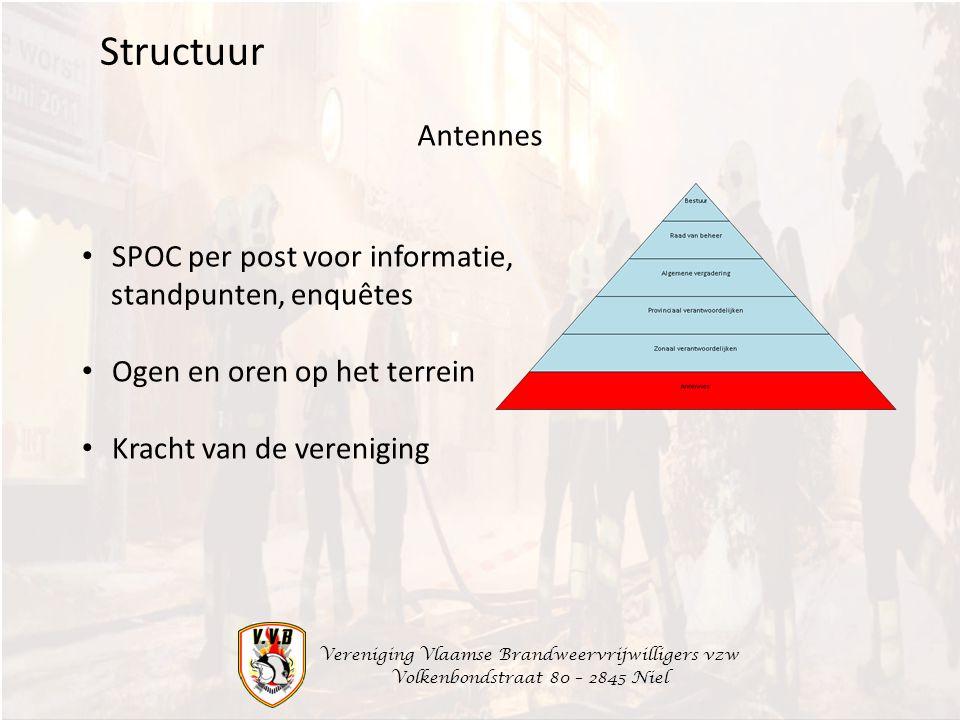 Vereniging Vlaamse Brandweervrijwilligers vzw Volkenbondstraat 80 – 2845 Niel Antennes Structuur SPOC per post voor informatie, standpunten, enquêtes
