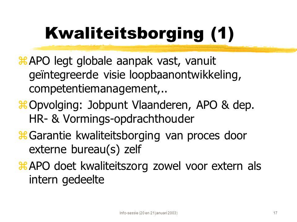 Info-sessie (20 en 21 januari 2003)17 Kwaliteitsborging (1) zAPO legt globale aanpak vast, vanuit geïntegreerde visie loopbaanontwikkeling, competenti