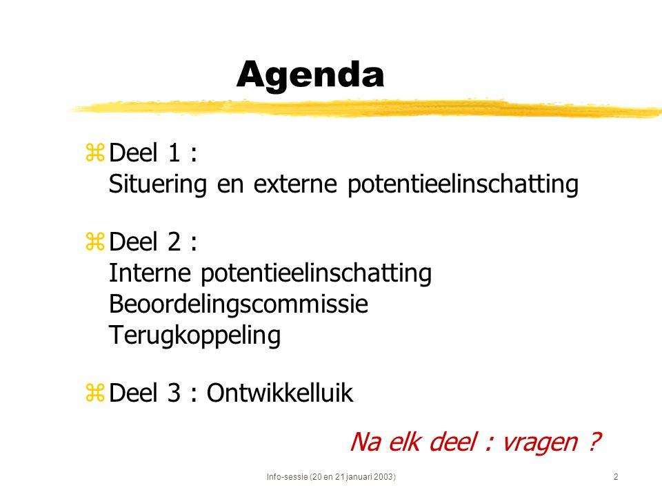 Info-sessie (20 en 21 januari 2003)2 Agenda zDeel 1 : Situering en externe potentieelinschatting zDeel 2 : Interne potentieelinschatting Beoordelingsc