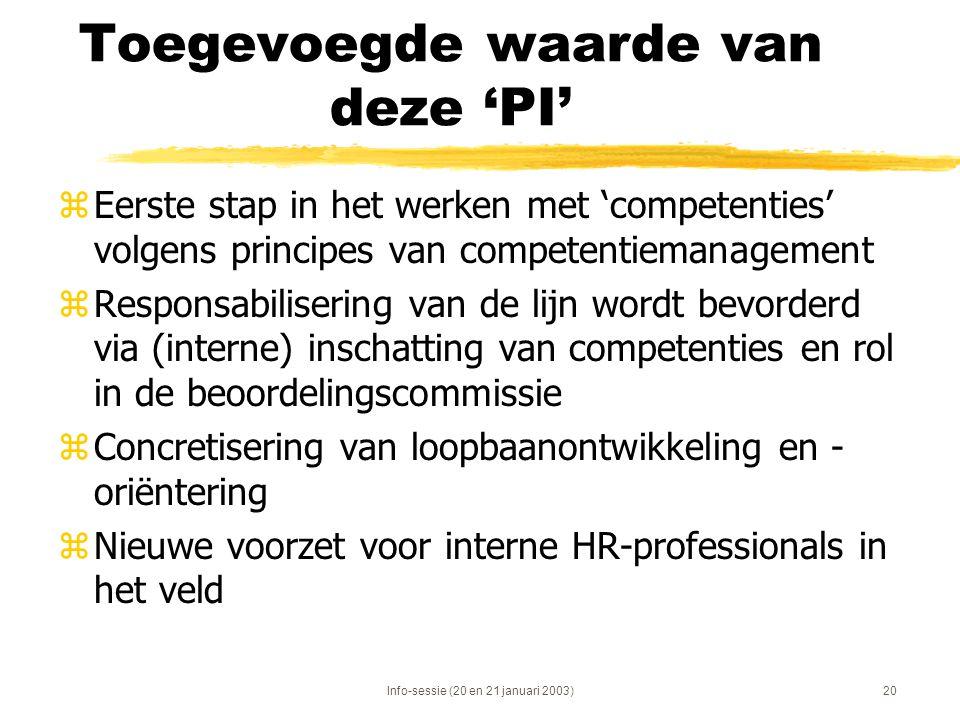Info-sessie (20 en 21 januari 2003)20 Toegevoegde waarde van deze 'PI' zEerste stap in het werken met 'competenties' volgens principes van competentie