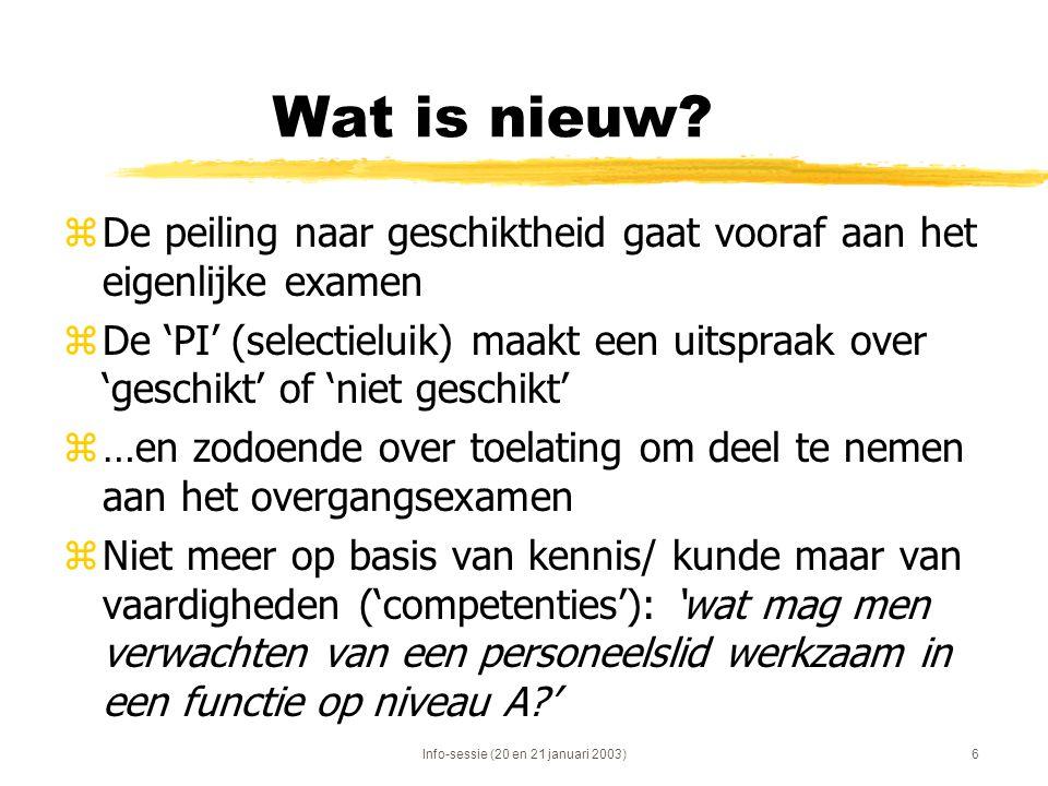 Info-sessie (20 en 21 januari 2003)6 Wat is nieuw? zDe peiling naar geschiktheid gaat vooraf aan het eigenlijke examen zDe 'PI' (selectieluik) maakt e
