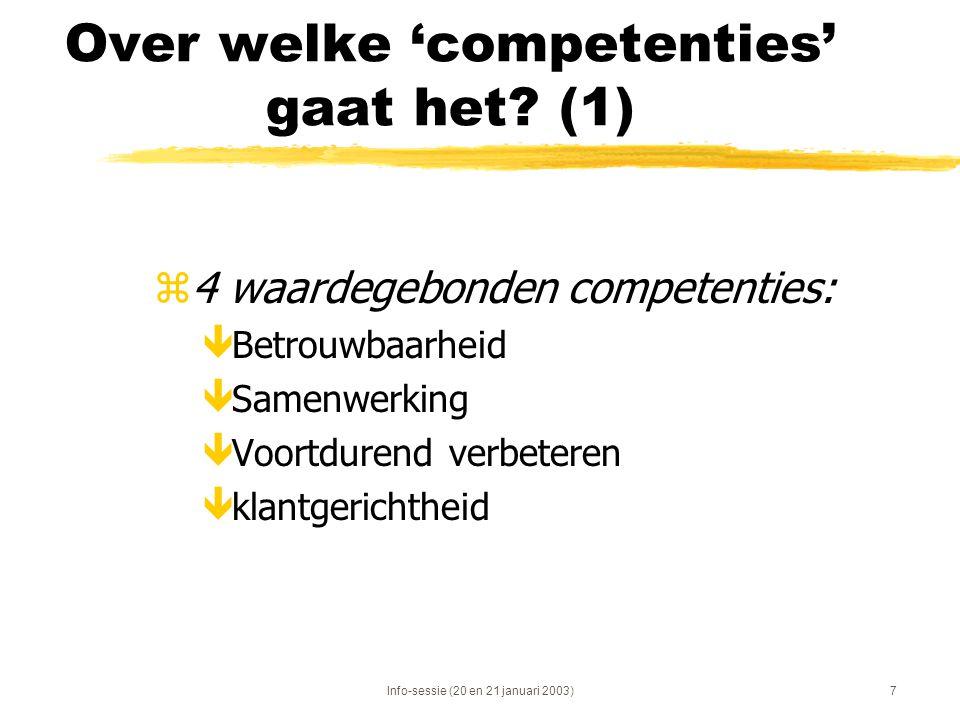 Info-sessie (20 en 21 januari 2003)7 Over welke 'competenties' gaat het? (1) z4 waardegebonden competenties: êBetrouwbaarheid êSamenwerking êVoortdure