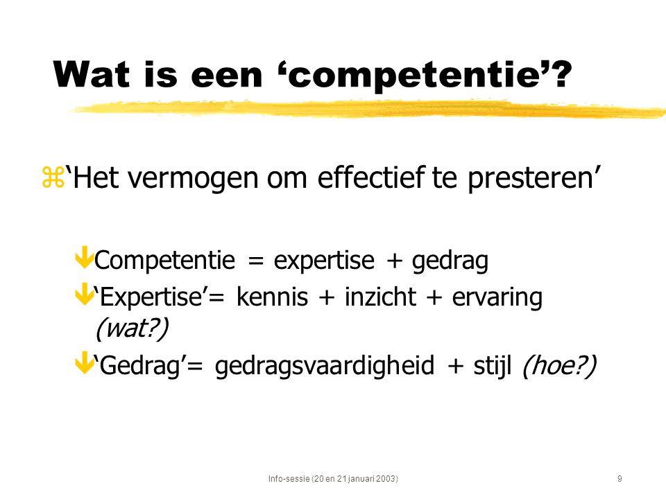 Info-sessie (20 en 21 januari 2003)9 Wat is een 'competentie'? z'Het vermogen om effectief te presteren' êCompetentie = expertise + gedrag ê'Expertise