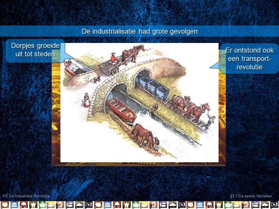 H3 De Industriële Revolutie §3.1 De eerste fabrieken De industrialisatie had grote gevolgen Dorpjes groeide uit tot steden Er ontstond ook een transpo