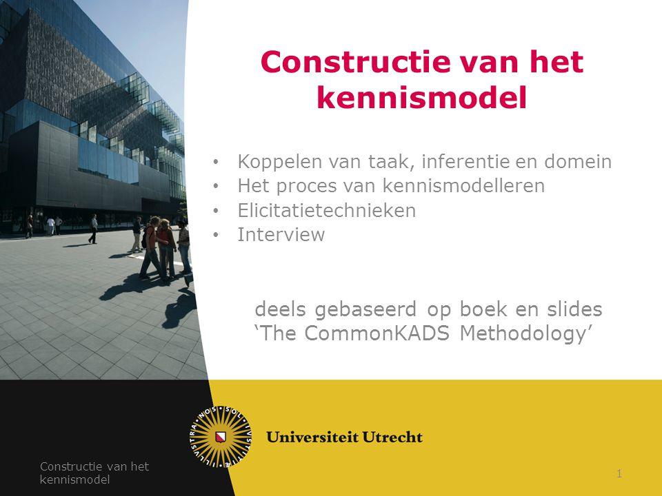 Constructie van het kennismodel Koppelen van taak, inferentie en domein Het proces van kennismodelleren Elicitatietechnieken Interview deels gebaseerd