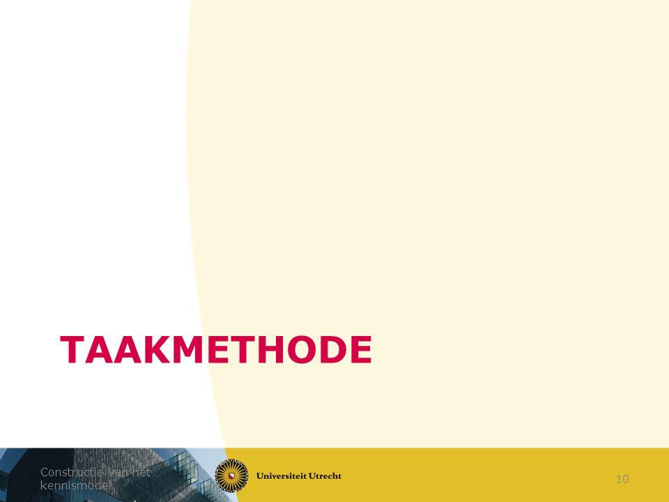 TAAKMETHODE Constructie van het kennismodel 10