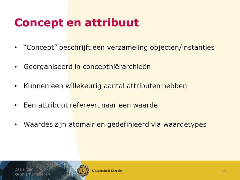"""Basis van kennismodelleren 19 Concept en attribuut """"Concept"""" beschrijft een verzameling objecten/instanties Georganiseerd in concepthiërarchieën Kunne"""