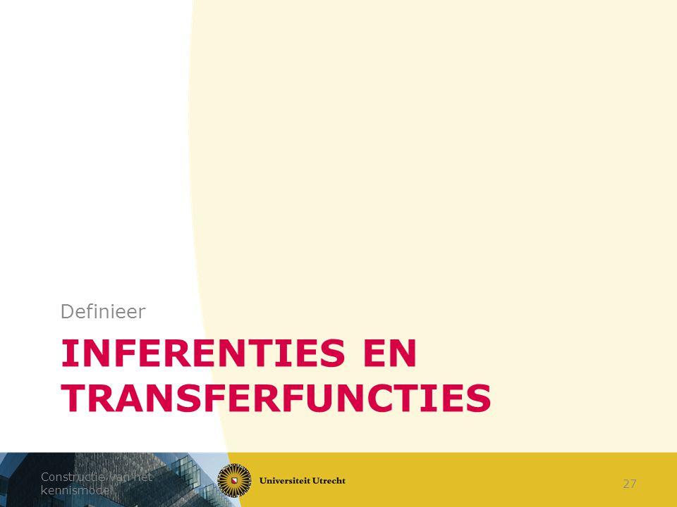 INFERENTIES EN TRANSFERFUNCTIES Definieer Constructie van het kennismodel 27