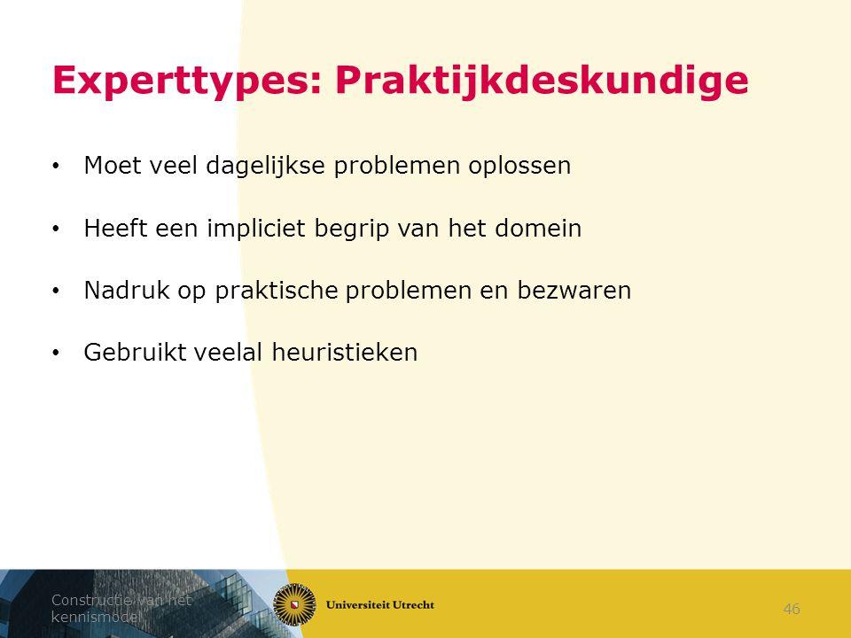 Experttypes: Praktijkdeskundige Moet veel dagelijkse problemen oplossen Heeft een impliciet begrip van het domein Nadruk op praktische problemen en be
