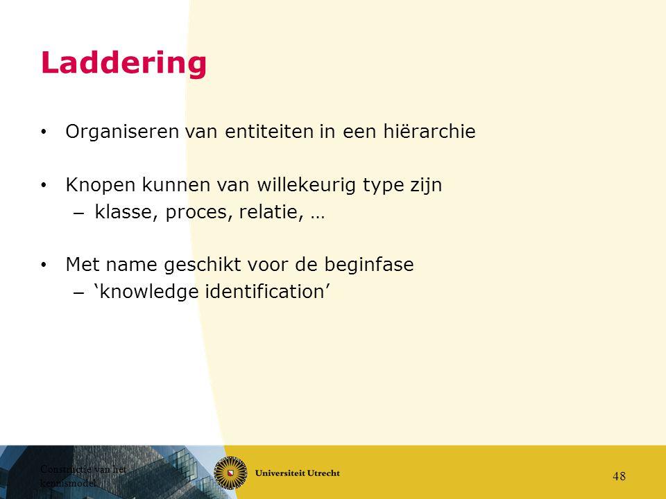 Constructie van het kennismodel 48 Laddering Organiseren van entiteiten in een hiërarchie Knopen kunnen van willekeurig type zijn – klasse, proces, re