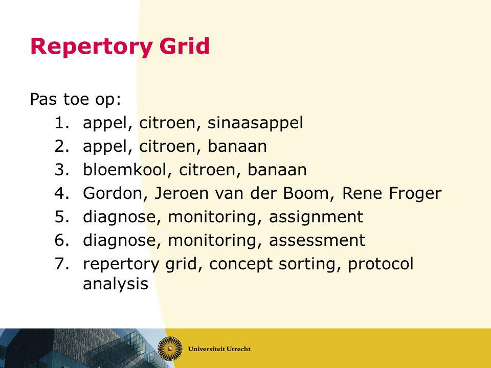 Repertory Grid Pas toe op: 1.appel, citroen, sinaasappel 2.appel, citroen, banaan 3.bloemkool, citroen, banaan 4.Gordon, Jeroen van der Boom, Rene Fro