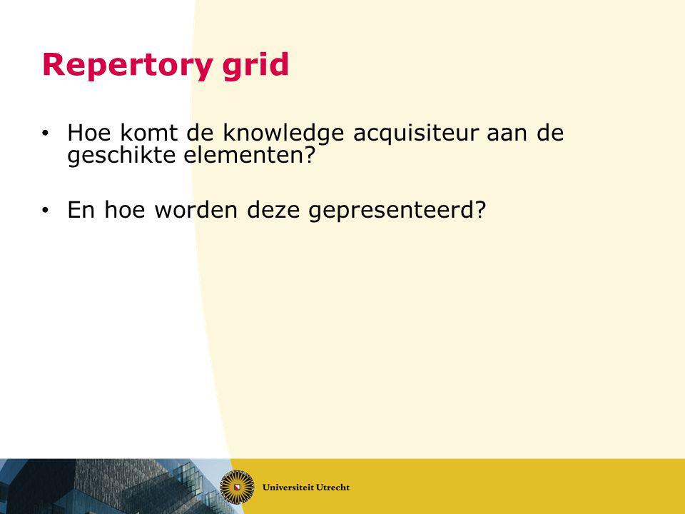 Repertory grid Hoe komt de knowledge acquisiteur aan de geschikte elementen? En hoe worden deze gepresenteerd?
