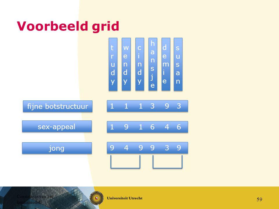 Constructie van het kennismodel 59 Voorbeeld grid trudytrudy trudytrudy wendywendy wendywendy cindycindy cindycindy hansjehansje hansjehansje demiedem