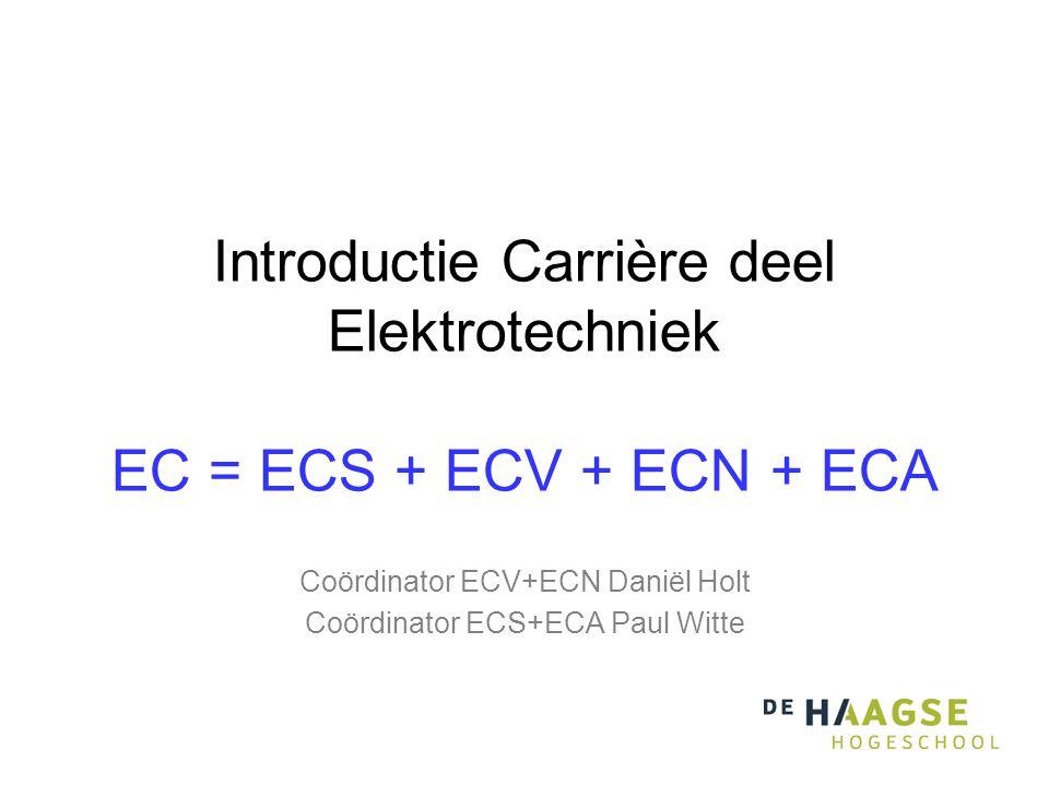 Introductie Carrière deel Elektrotechniek EC = ECS + ECV + ECN + ECA Coördinator ECV+ECN Daniël Holt Coördinator ECS+ECA Paul Witte