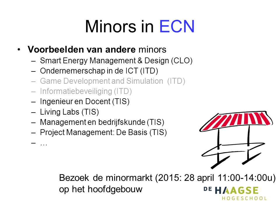 Minors in ECN Voorbeelden van andere minors –Smart Energy Management & Design (CLO) –Ondernemerschap in de ICT (ITD) –Game Development and Simulation (ITD) –Informatiebeveiliging (ITD) –Ingenieur en Docent (TIS) –Living Labs (TIS) –Management en bedrijfskunde (TIS) –Project Management: De Basis (TIS) –… Bezoek de minormarkt (2015: 28 april 11:00-14:00u) op het hoofdgebouw