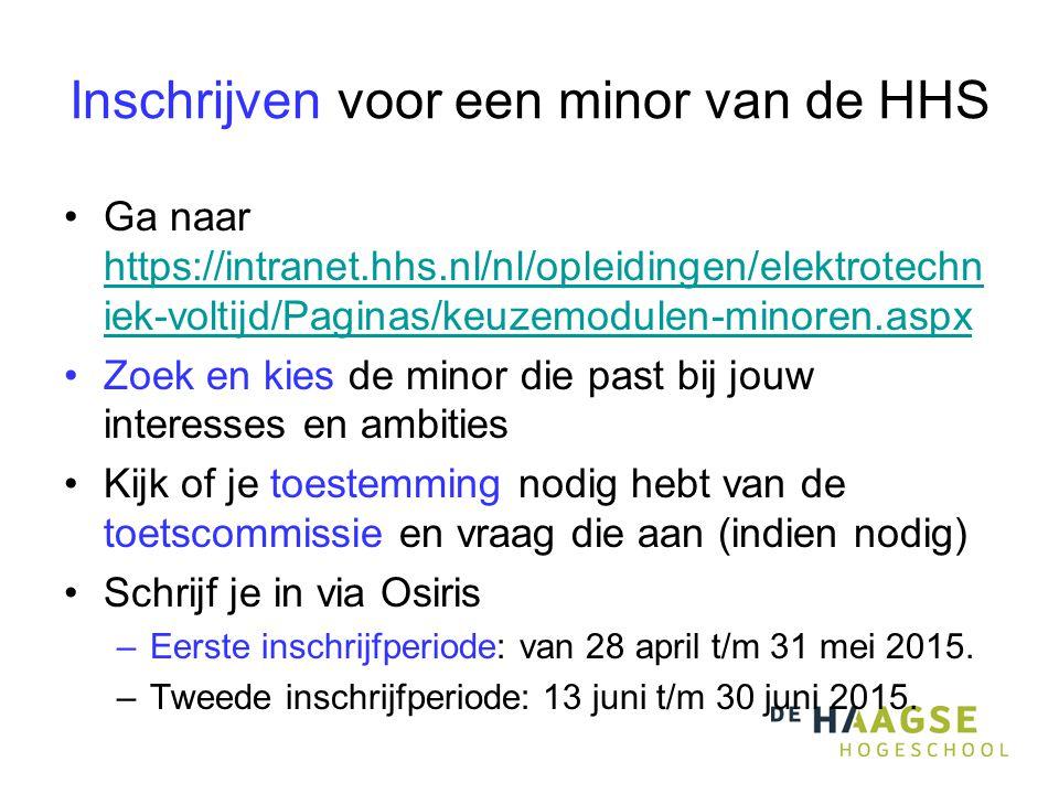 Inschrijven voor een minor van de HHS Ga naar https://intranet.hhs.nl/nl/opleidingen/elektrotechn iek-voltijd/Paginas/keuzemodulen-minoren.aspx https://intranet.hhs.nl/nl/opleidingen/elektrotechn iek-voltijd/Paginas/keuzemodulen-minoren.aspx Zoek en kies de minor die past bij jouw interesses en ambities Kijk of je toestemming nodig hebt van de toetscommissie en vraag die aan (indien nodig) Schrijf je in via Osiris –Eerste inschrijfperiode: van 28 april t/m 31 mei 2015.