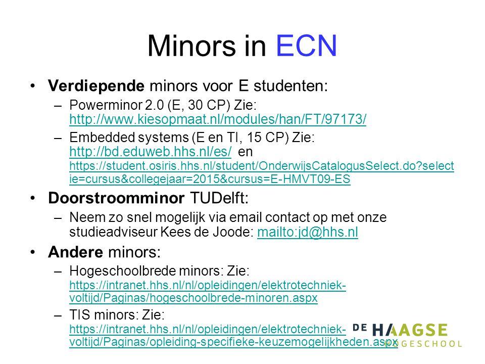 Minors in ECN Verdiepende minors voor E studenten: –Powerminor 2.0 (E, 30 CP) Zie: http://www.kiesopmaat.nl/modules/han/FT/97173/ http://www.kiesopmaat.nl/modules/han/FT/97173/ –Embedded systems (E en TI, 15 CP) Zie: http://bd.eduweb.hhs.nl/es/ en https://student.osiris.hhs.nl/student/OnderwijsCatalogusSelect.do?select ie=cursus&collegejaar=2015&cursus=E-HMVT09-ES http://bd.eduweb.hhs.nl/es/ https://student.osiris.hhs.nl/student/OnderwijsCatalogusSelect.do?select ie=cursus&collegejaar=2015&cursus=E-HMVT09-ES Doorstroomminor TUDelft: –Neem zo snel mogelijk via email contact op met onze studieadviseur Kees de Joode: mailto:jd@hhs.nlmailto:jd@hhs.nl Andere minors: –Hogeschoolbrede minors: Zie: https://intranet.hhs.nl/nl/opleidingen/elektrotechniek- voltijd/Paginas/hogeschoolbrede-minoren.aspx https://intranet.hhs.nl/nl/opleidingen/elektrotechniek- voltijd/Paginas/hogeschoolbrede-minoren.aspx –TIS minors: Zie: https://intranet.hhs.nl/nl/opleidingen/elektrotechniek- voltijd/Paginas/opleiding-specifieke-keuzemogelijkheden.aspx https://intranet.hhs.nl/nl/opleidingen/elektrotechniek- voltijd/Paginas/opleiding-specifieke-keuzemogelijkheden.aspx