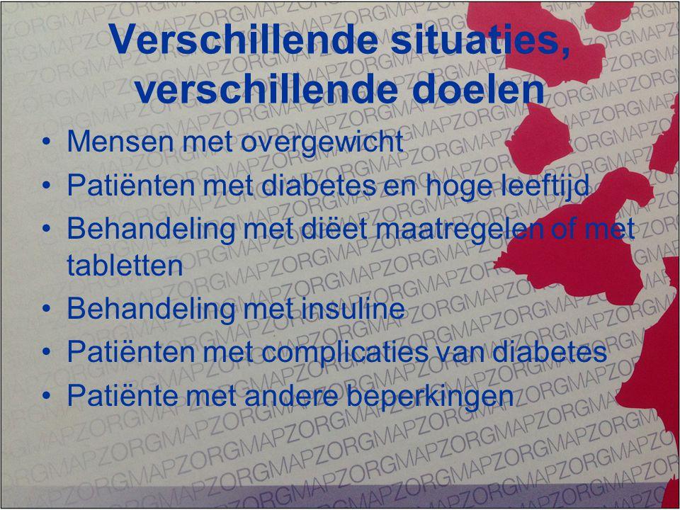 Verschillende situaties, verschillende doelen Mensen met overgewicht Patiënten met diabetes en hoge leeftijd Behandeling met diëet maatregelen of met