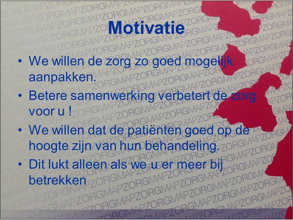 Motivatie We willen de zorg zo goed mogelijk aanpakken. Betere samenwerking verbetert de zorg voor u ! We willen dat de patiënten goed op de hoogte zi