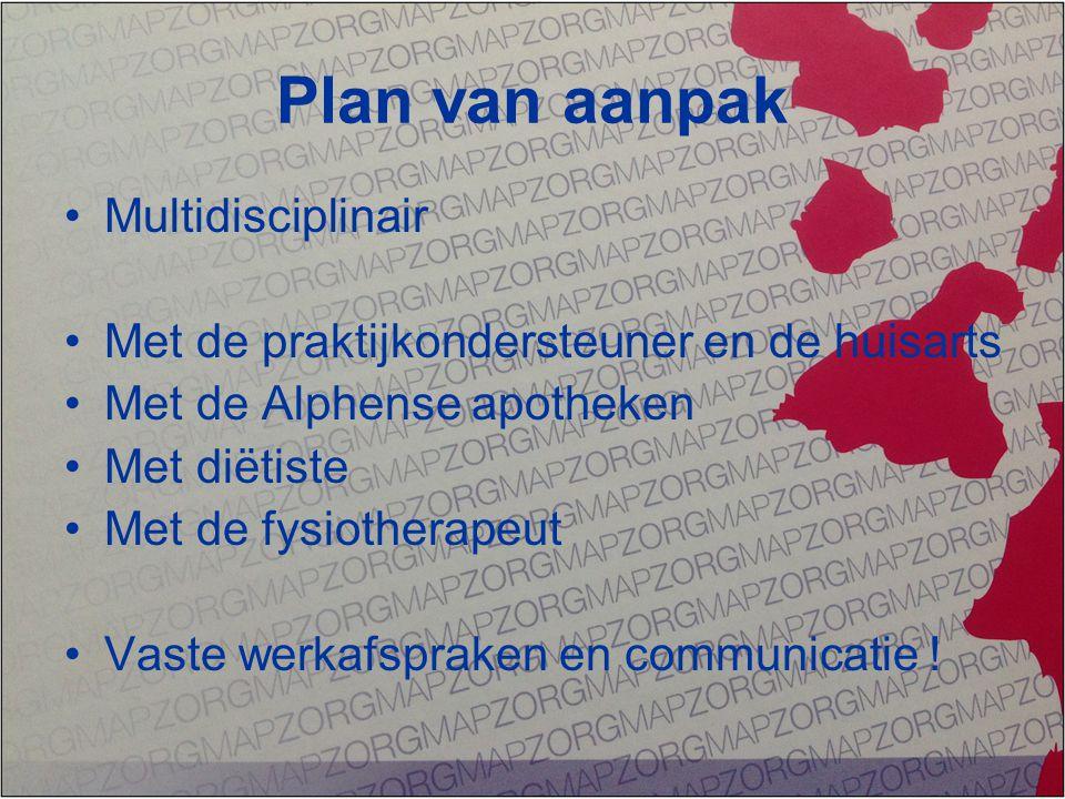 Plan van aanpak Multidisciplinair Met de praktijkondersteuner en de huisarts Met de Alphense apotheken Met diëtiste Met de fysiotherapeut Vaste werkaf