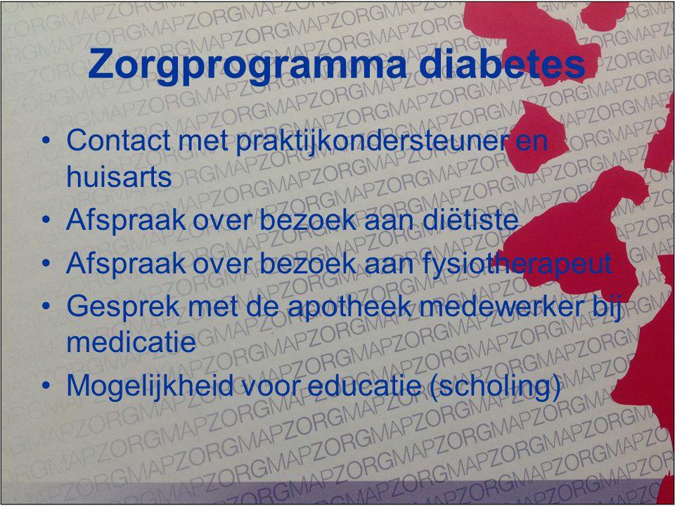 Zorgprogramma diabetes Contact met praktijkondersteuner en huisarts Afspraak over bezoek aan diëtiste Afspraak over bezoek aan fysiotherapeut Gesprek