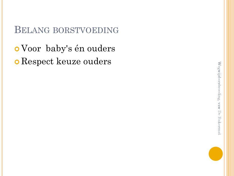 B ELANG BORSTVOEDING Voor baby's én ouders Respect keuze ouders Wegwijsborstvoeding, vzw De Bakermat