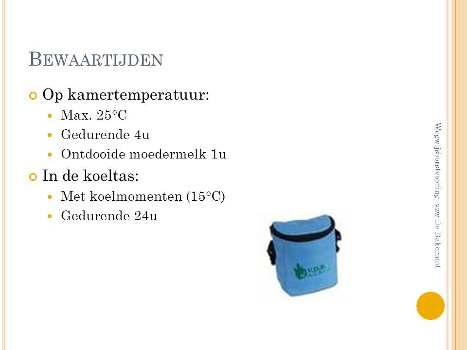 B EWAARTIJDEN Op kamertemperatuur: Max. 25°C Gedurende 4u Ontdooide moedermelk 1u In de koeltas: Met koelmomenten (15°C) Gedurende 24u Wegwijsborstvoe
