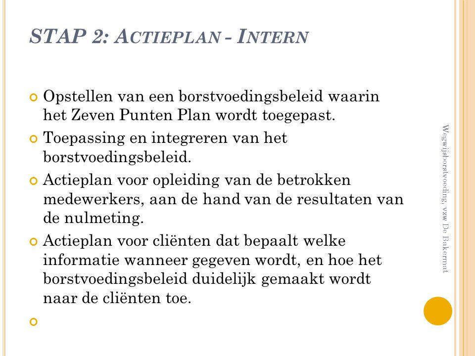 STAP 2: A CTIEPLAN - I NTERN Opstellen van een borstvoedingsbeleid waarin het Zeven Punten Plan wordt toegepast. Toepassing en integreren van het bors