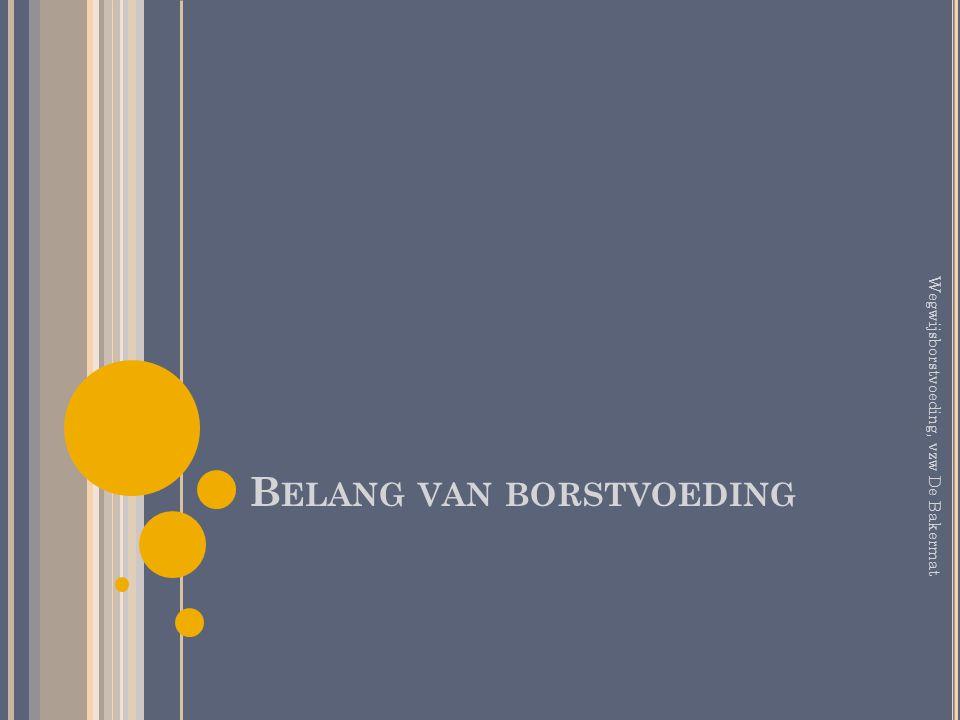 B ELANG VAN BORSTVOEDING Wegwijsborstvoeding, vzw De Bakermat