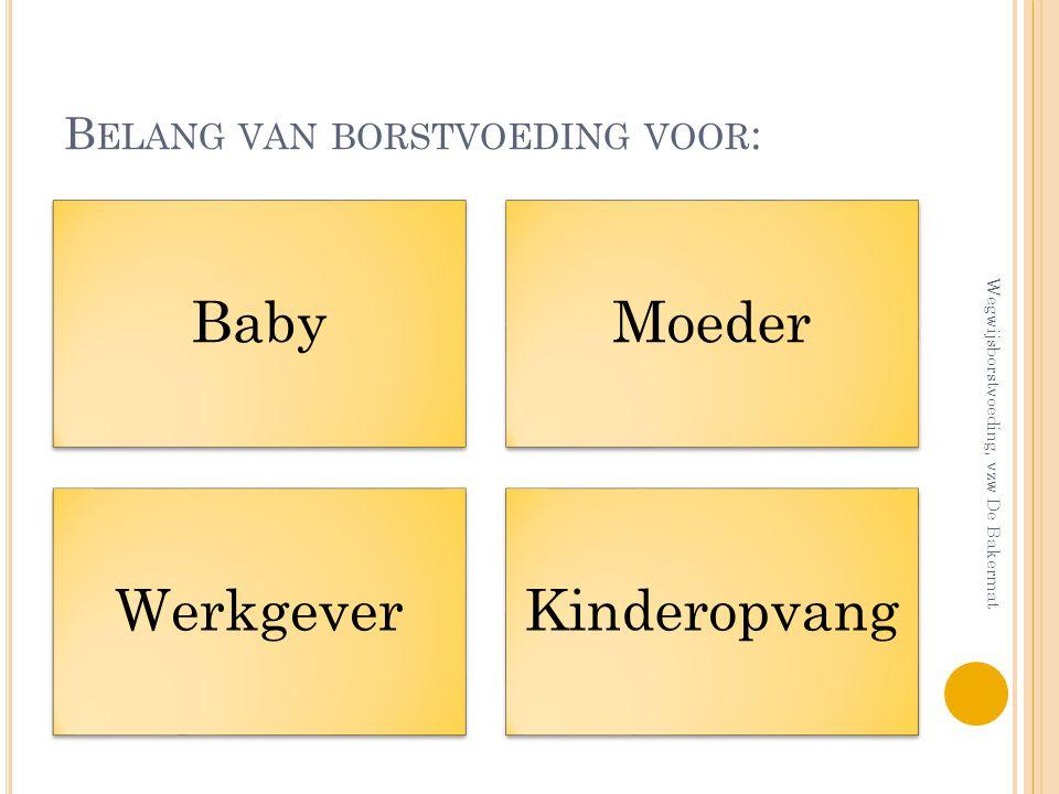 B ELANG VAN BORSTVOEDING VOOR : BabyMoeder WerkgeverKinderopvang Wegwijsborstvoeding, vzw De Bakermat