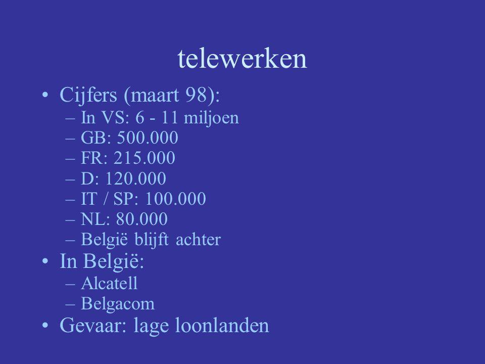 telewerken Cijfers (maart 98): –In VS: 6 - 11 miljoen –GB: 500.000 –FR: 215.000 –D: 120.000 –IT / SP: 100.000 –NL: 80.000 –België blijft achter In België: –Alcatell –Belgacom Gevaar: lage loonlanden