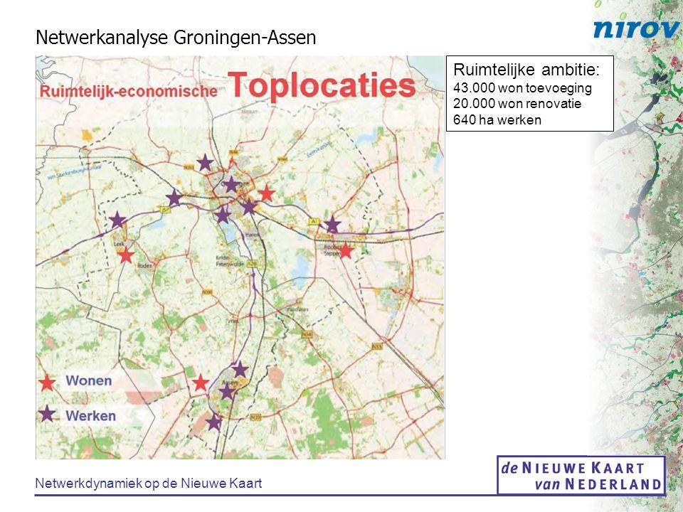 Netwerkdynamiek op de Nieuwe Kaart Netwerkanalyse Groningen-Assen Ruimtelijke ambitie: 43.000 won toevoeging 20.000 won renovatie 640 ha werken