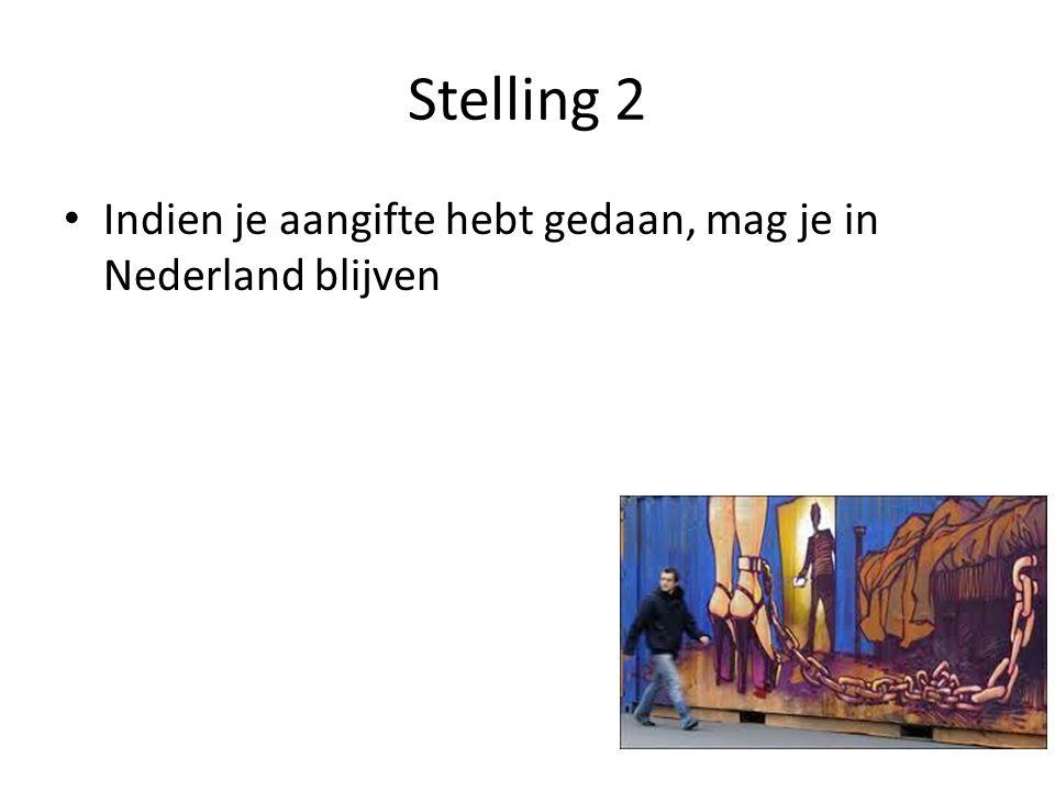 Stelling 2 Indien je aangifte hebt gedaan, mag je in Nederland blijven