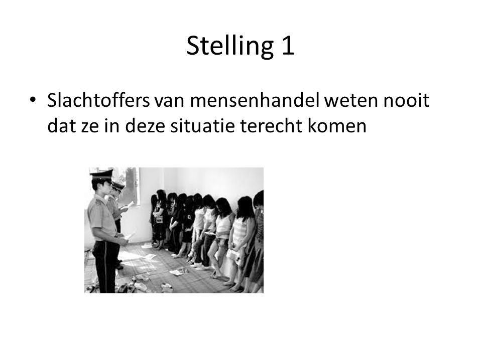 Stelling 1 Slachtoffers van mensenhandel weten nooit dat ze in deze situatie terecht komen