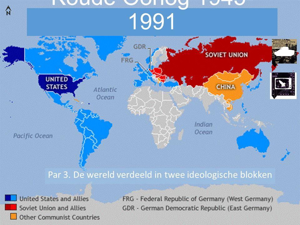 Oorzaken Koude Oorlog Begrip Koude Oorlog: Periode van vijandschap tussen de VS en de SU en hun bondgenoten waarin veel oorlogen en conflicten voorkwamen, maar waarbij er geen rechtstreekse oorlog losbrak tussen de grootmachten.