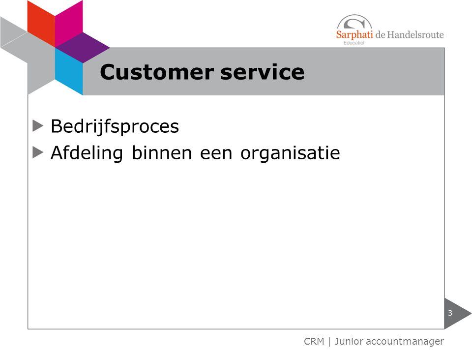 Bedrijfsproces Afdeling binnen een organisatie 3 CRM | Junior accountmanager Customer service