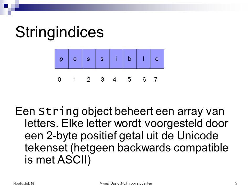 Hoofdstuk 16 Visual Basic.NET voor studenten5 Stringindices Een String object beheert een array van letters. Elke letter wordt voorgesteld door een 2-