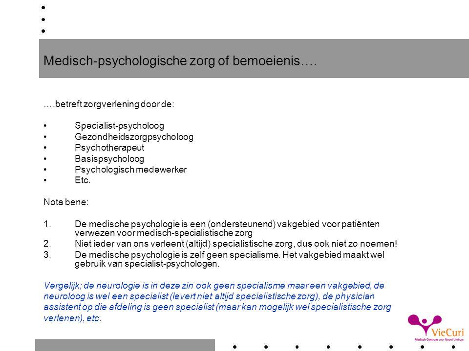 Kostprijzen medisch-psychologische zorg; voorbeeld