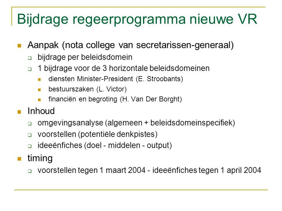 Bijdrage regeerprogramma nieuwe VR Aanpak (nota college van secretarissen-generaal)  bijdrage per beleidsdomein  1 bijdrage voor de 3 horizontale beleidsdomeinen diensten Minister-President (E.