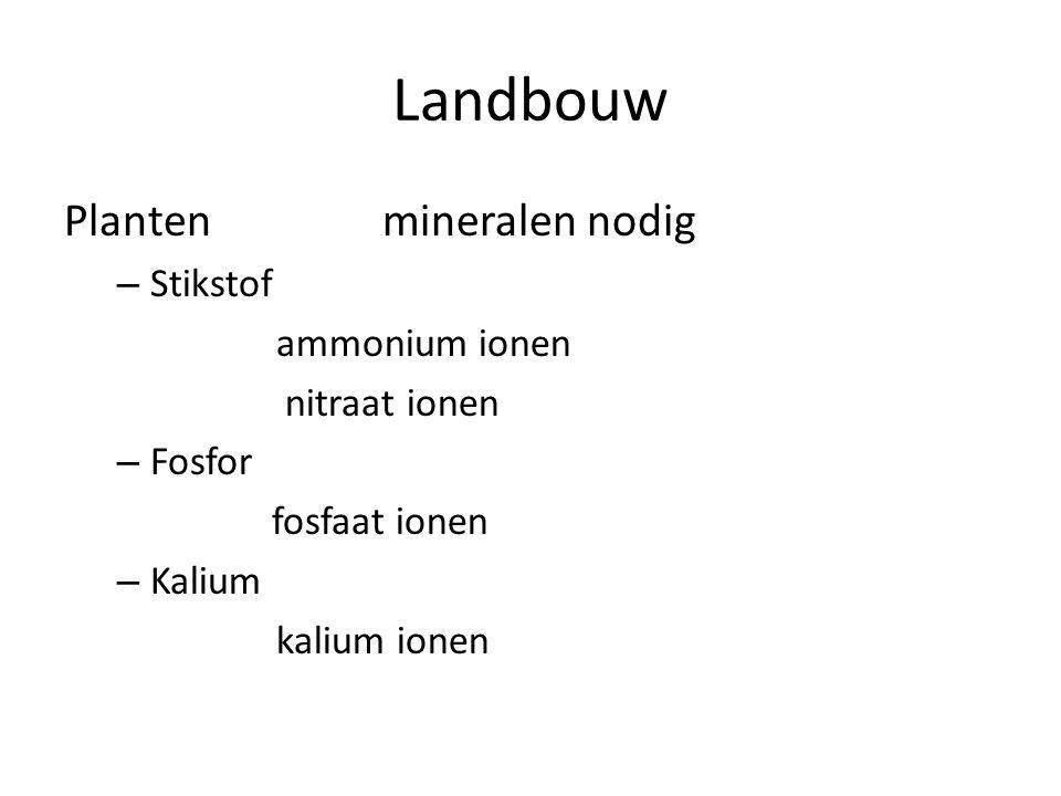 Landbouw Planten mineralen nodig – Stikstof ammonium ionen nitraat ionen – Fosfor fosfaat ionen – Kalium kalium ionen