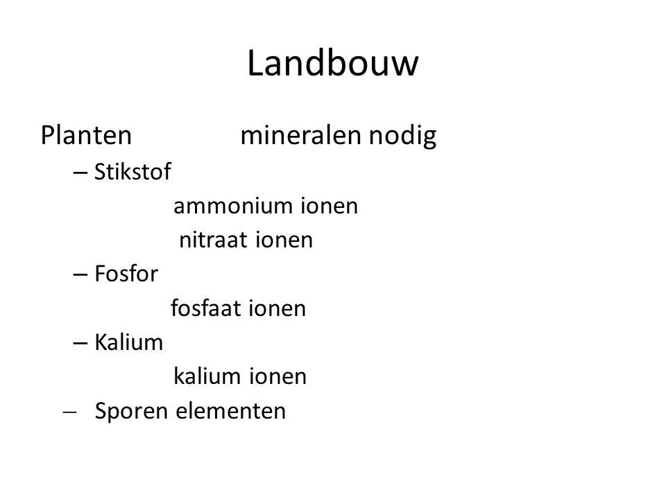 Landbouw Planten mineralen nodig – Stikstof ammonium ionen nitraat ionen – Fosfor fosfaat ionen – Kalium kalium ionen ̶ Sporen elementen